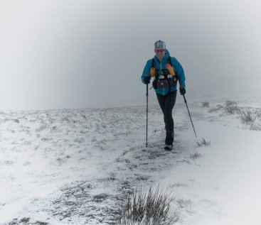 Managing a smile on the climb up Jacobs Ladder, Edale