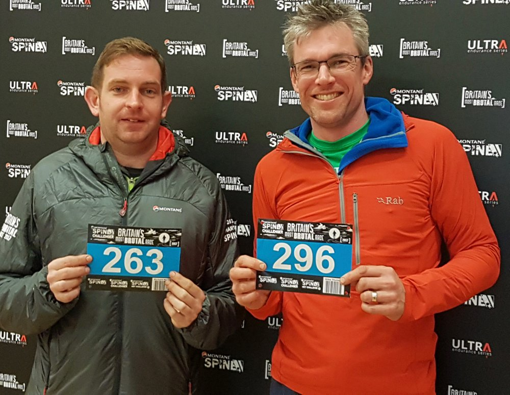Ricky and Giles at the Spine Challenger Finish 2017