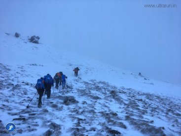 The ascent of Jacobs Ladder into the snow, at the start of the 2017 Spine Challenger
