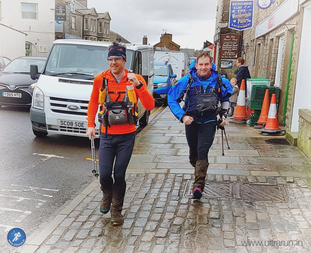 Giles and Ricky approaching the finish line of the Spine Challenger in Hawes. Can't believe we made it! Photo courtesy of John Figiel.