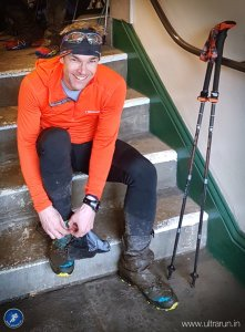 Happy and relieved Giles at the finish of The Spine Challenger. Photo courtesy of John Figiel.