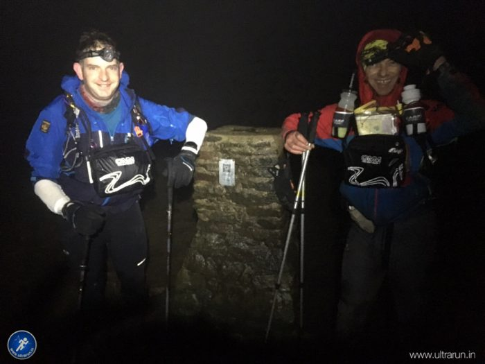 Richard Martin and Yann L'hostis happy to reach the summit of Pen-y-ghent