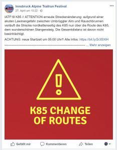 K85 Route Change