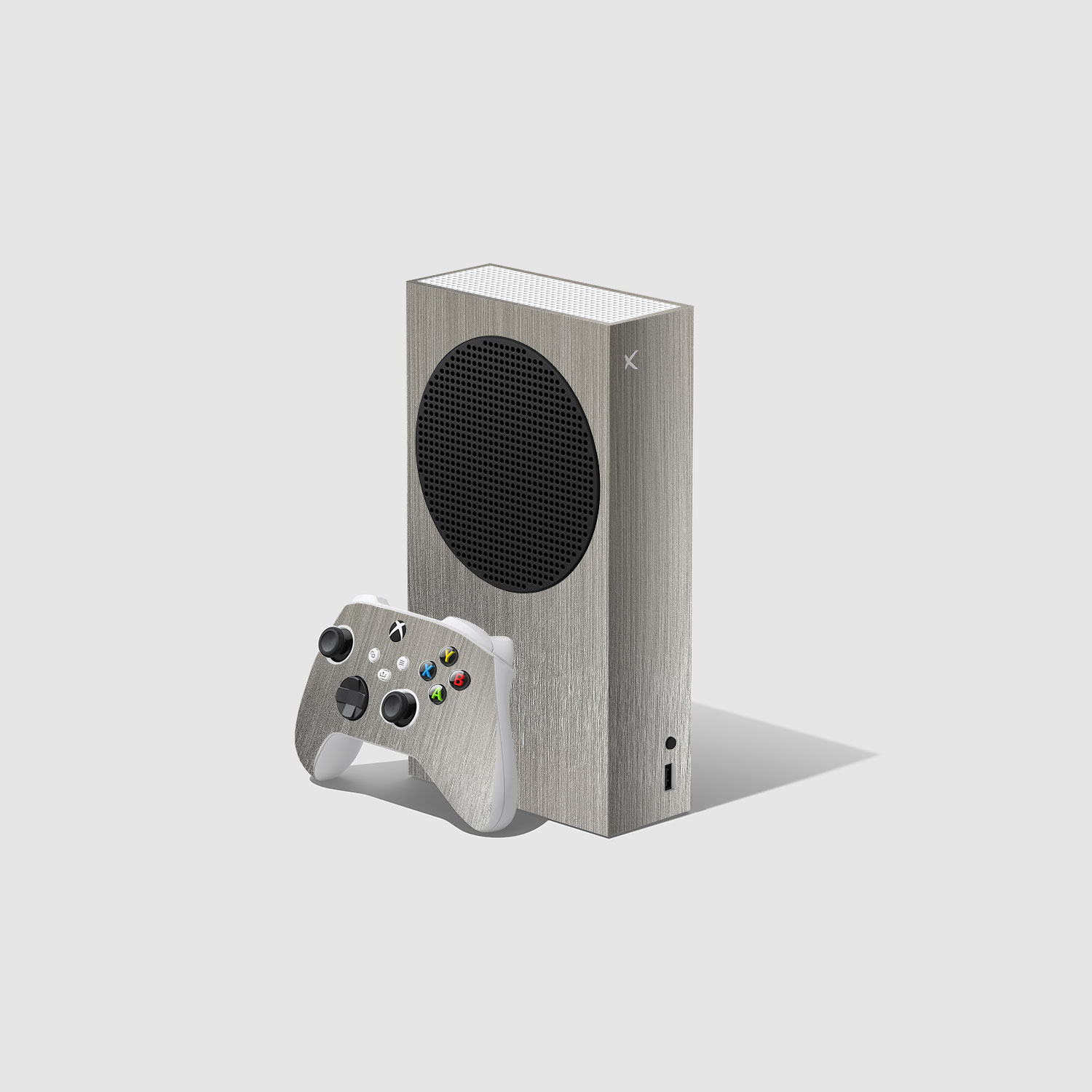 Silver Metallic Xbox Series S Console and Controller Skin Wrap
