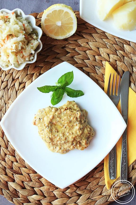 Schab w cytrynowym sosie z mascarpone i musztardą