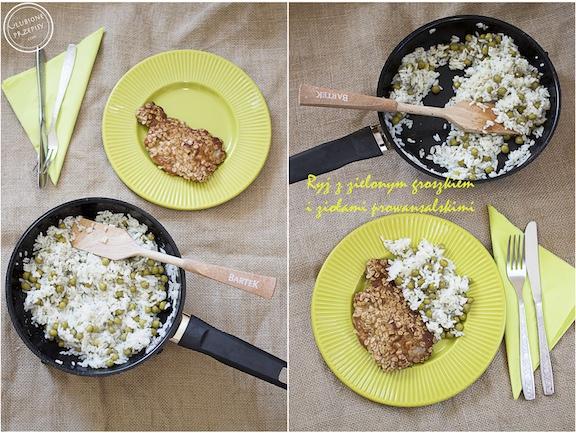 Ryż z zielonym groszkiem i ziołami prowansalskimi
