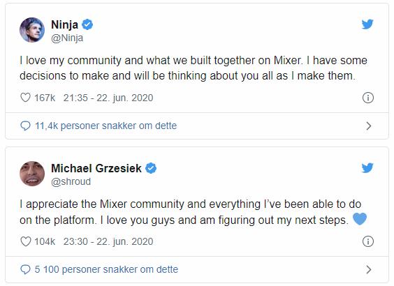 Ninja og Shtroud tweet