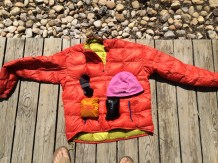 "My ""extra"" clothes: Down Jacket, Rain Jacket, Wind Shirt, Beanie, and Spare Socks."