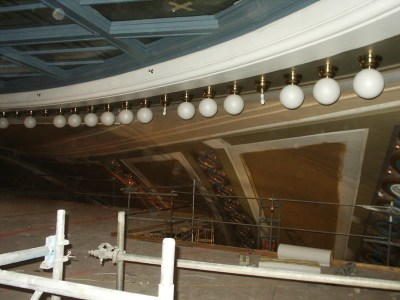 Necklace lights being installed