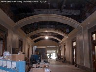 Main lobby with ceiling structure exposed