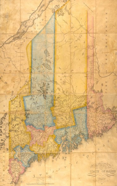 Maine Bicentennial 2019 20   Clement and Linda McGillicuddy     Moses Greenleaf  Map of the State of Maine  1820  image online at Osher
