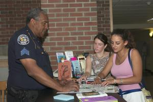 Sgt. Patterson at Community Policing booth in the Union