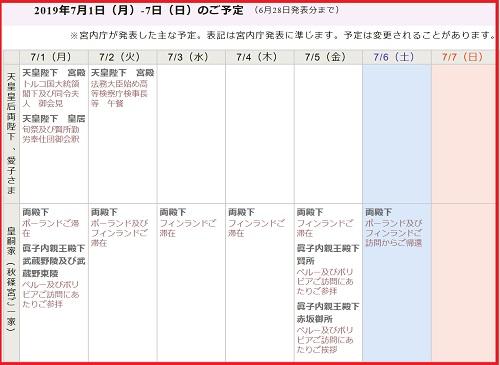 天皇家と秋篠宮家の予定表