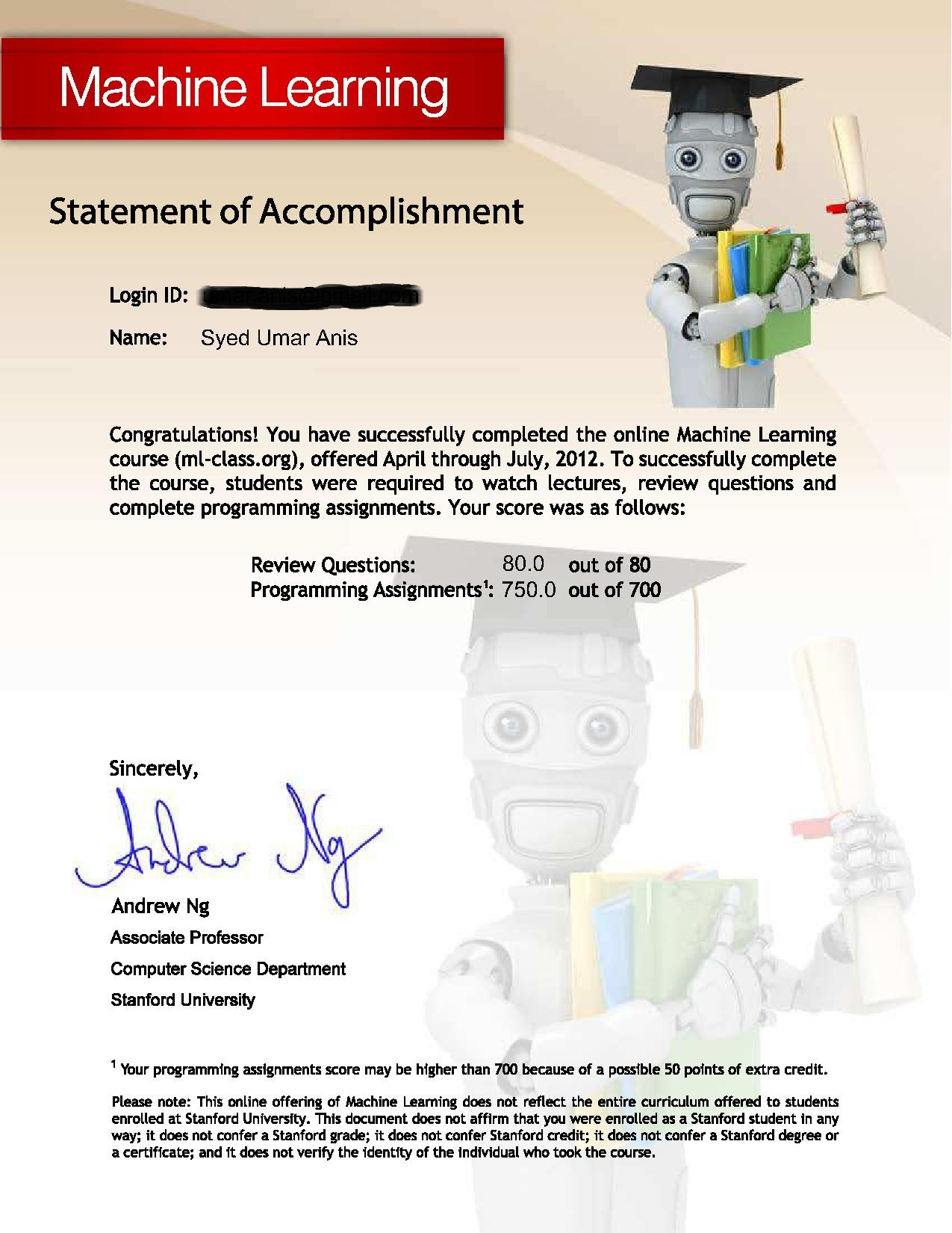 Completed Machine Learning From Coursera Syed Umar Anis