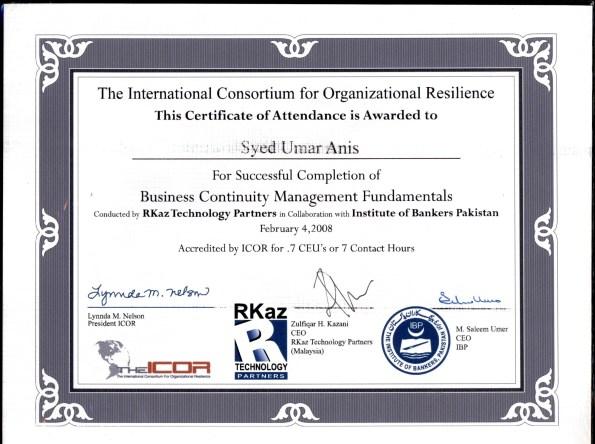 BCM Certificate