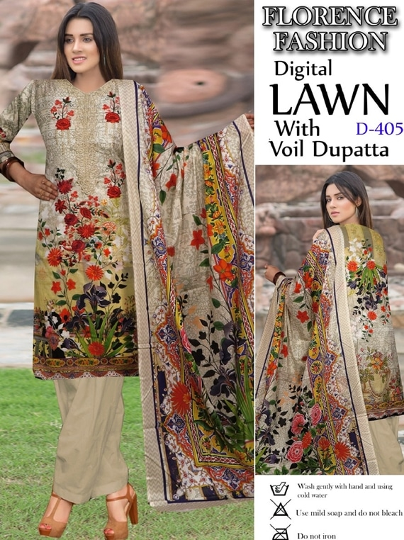 Florence Fashion Digital Lawn With Voil Dupatta Collection