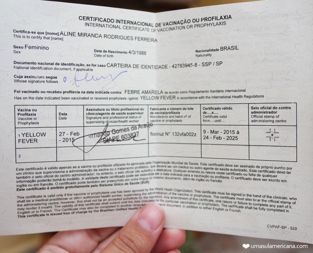 Certificado Internacional de Vacinação contra febre amarela | 10 coisas que você precisa saber antes da sua viagem pela Bolívia