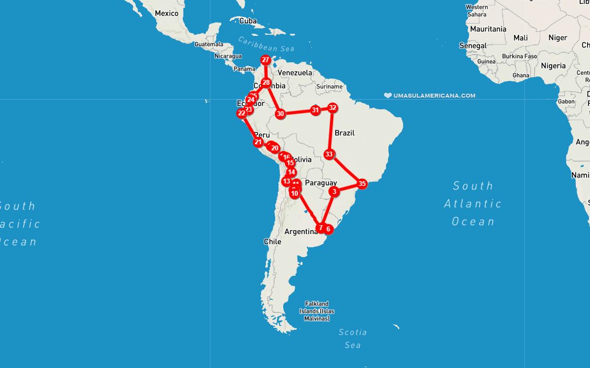Mochilão pela América do Sul - mapa