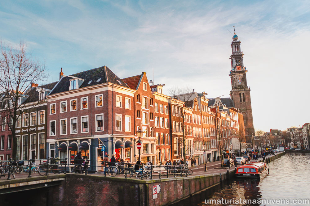 vista panorâmica de Amsterdam do alto da torre da Westerkerk