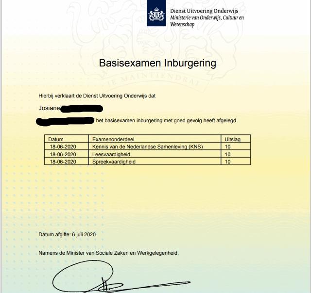 visto de partner para Holanda - exame integração civíca