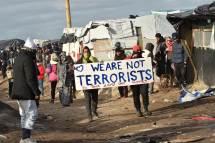 Refugees demonstrating in France