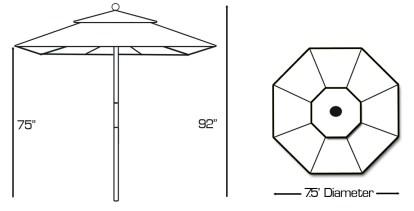 Specs for Galtech 121 7.5′ Deluxe Round Light Wood Umbrella
