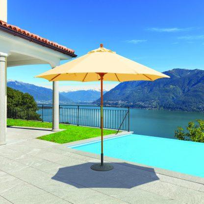 Galtech 131 9′ Round Light Wood Patio Umbrella