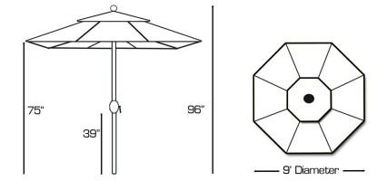 Specs for Galtech 738 9′ Round Deluxe Auto Tilt Umbrella