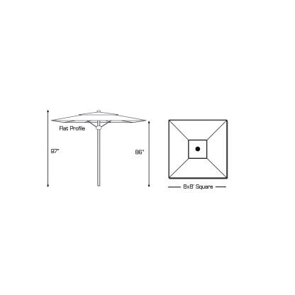 Specs for Galtech 782 8′ Square Deluxe Commercial Market Umbrella