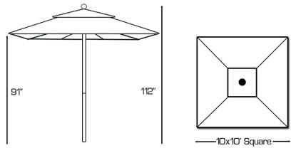 Galtech 792 Square Patio Umbrella