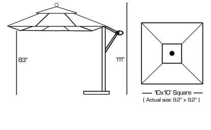 Specs for Galtech 897 10′ x 10′ Cantilever (Offset) Aluminum Square Umbrella