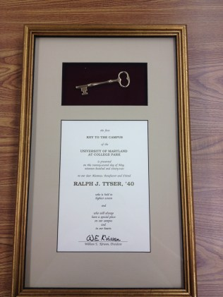 The first key to the campus presented to Ralph Tyser