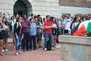People gather for a boycott of Israel Fest in front of McKeldin Library May 2. Jared Beinart/Mitzpeh.