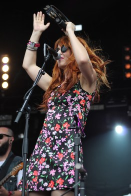 Katie Jayne Earl, vocals and percussion for the Southern Californian alternative rock band, The Mowgli's, as they performed at the Lincoln stage on Saturday at Landmark Music Festival. (Cassie Osvatics/Bloc Reporter)