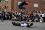 D.C. Skate performs tricks at the D.C. Funk Parade. (Cassie Osvatics/Bloc Reporter)