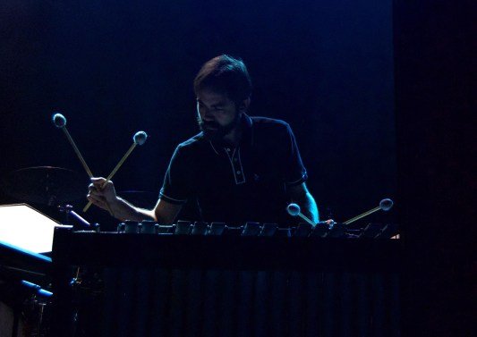 Classixx's xylophonist accented the Los Angeles duo's electronic set at 9:30 Club Friday Oct. 7, 2016. (Jordan Stovka/Bloc Reporter)