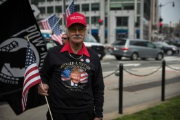 Loude Adkins, from Gastonia, North Carolina, came to Washington D.C. to show his support for President Donald Trump. He made the trip to The Nation's Capitol with members of his family. Here he stands on 17th St. NW, preparing to march down to the White House. (Josh Loock/Bloc Photographer)