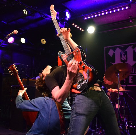 Rozwell Kid vocalist and guitarist Jordan Hudkins shreds riffs back to back with bassist Devin Donnelly during the West Virginia rock group's opening set at Rock And Roll Hotel Wednesday, March 29, 2017 (Jordan Stovka/Bloc Reporter).