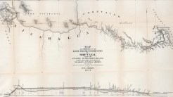 Uma visão mais alargada do mesmo mapa de 1886, incluindo um perfil topográfico da região. Fonte: Coleção de Mapas de David Rumsey.