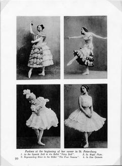 Four photographs of Anna Pavlova, 1881-1931, as a young dancer.