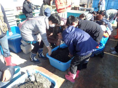 沖ノ島の砂と腐葉土混ぜ