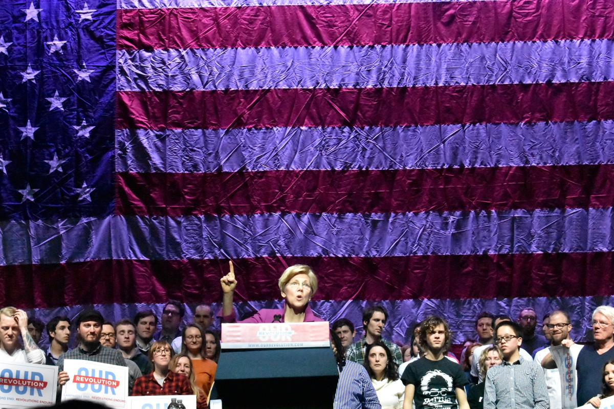 Senator Warren spaking at rally