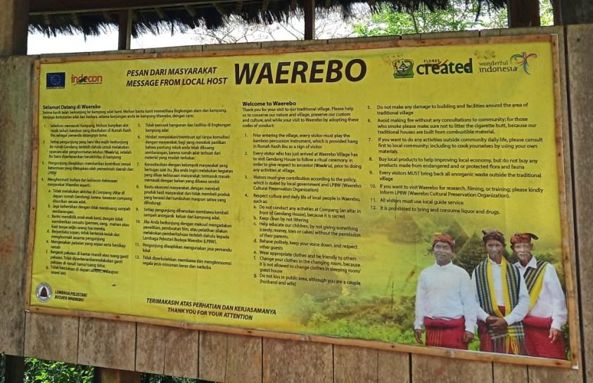 Signboard welcoming visitors to Wae Rebo