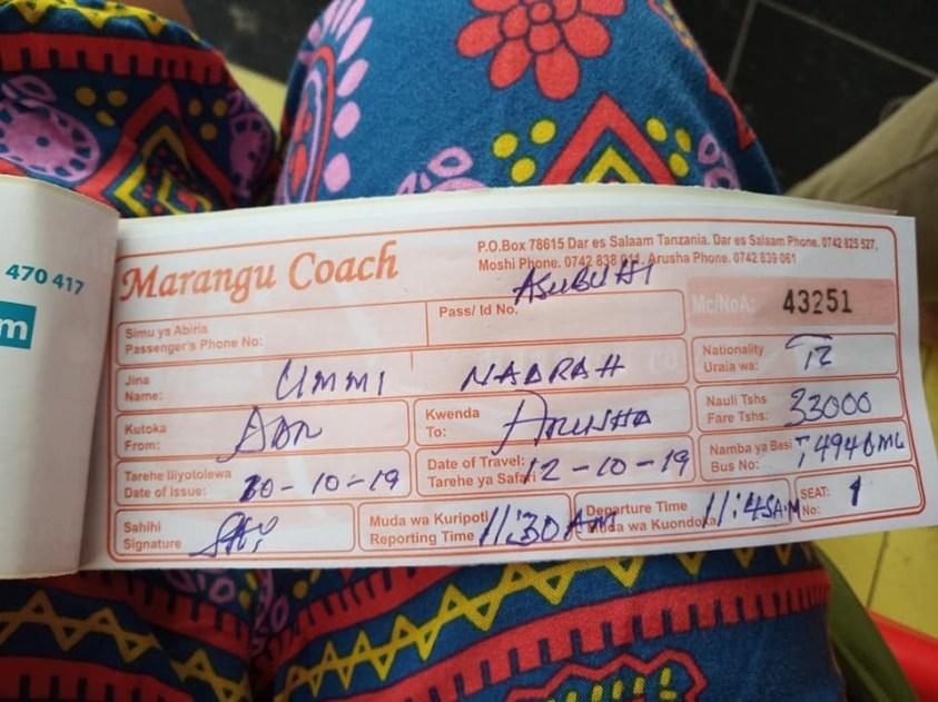 Bus Ticket in Dar es Salaam