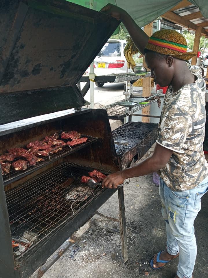 Nyama choma in the making