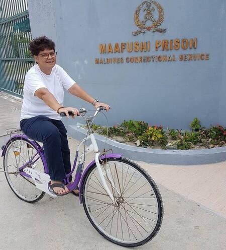 Cycling on Maafushi island, Maldives