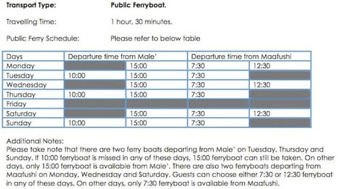 Maafushi Male Ferry Schedule