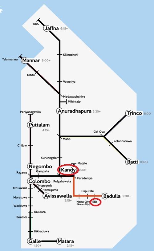 Kandy to Ella train map