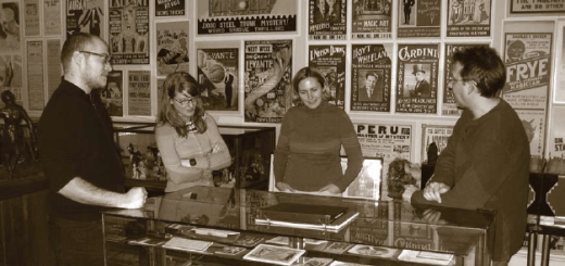 Jason Nargis, Alison Byrnes, and Tammy Shreiner meeting with Curator Jim Klodzen at the American Museum of Magic.