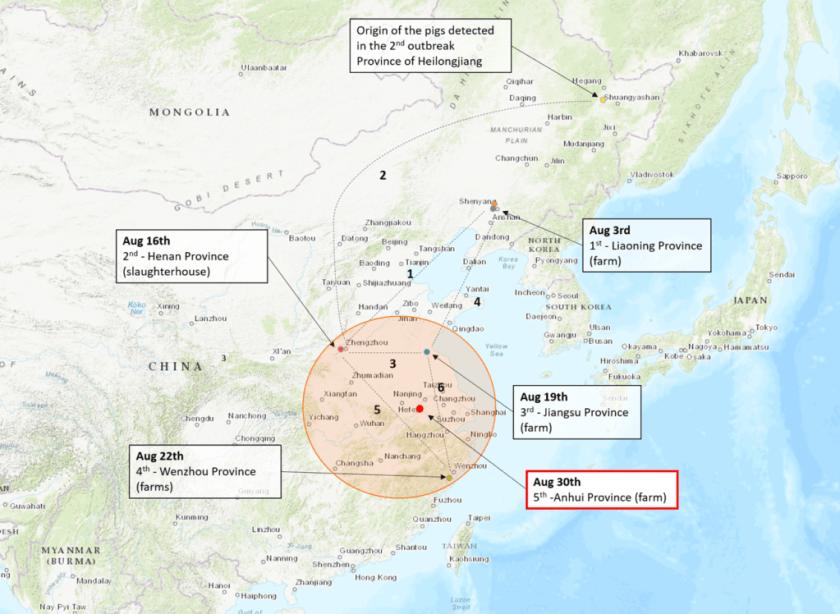 ASF China case 5 map